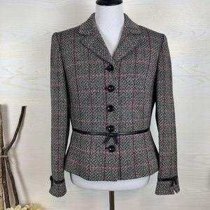 Tahari Bow Accents Wool Blend Blazer Jacket